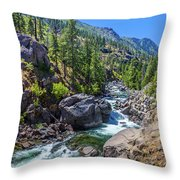 Creek Flowing Through Rocks, Icicle Throw Pillow