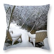 Creekside Chairs In The Snow 2 Throw Pillow