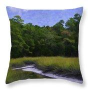 Creekside Fishing Throw Pillow