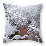 Creekside In The Snow 3 Throw Pillow