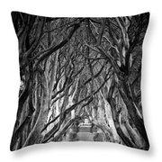 Creepy Dark Hedges Throw Pillow