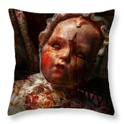 Creepy - Doll - It's Best To Let Them Sleep  Throw Pillow by Mike Savad
