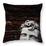 Creepy Marble Boy Garden Statue Throw Pillow