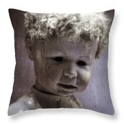 Creepy Old Doll Throw Pillow