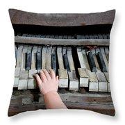 Creepy Piano Baby Throw Pillow