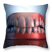 Creepy Teeth  Throw Pillow