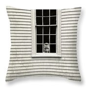 Creepy Victorian Girl Looking Out Window Throw Pillow
