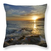 Crepuscular Rays At The Sea Throw Pillow