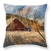 Crescent Barn In Winter Throw Pillow