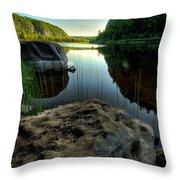 Crescent Lake Sunset Throw Pillow