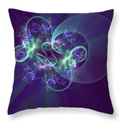 Crescent Moon And Fireworks Throw Pillow