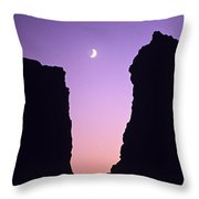 Crescent Moon Between Rock Formations Face Rock Throw Pillow