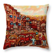 Crescent Street Family Stroll  Montreal City In Autumn City Scene Paintings Carole Spandau Throw Pillow