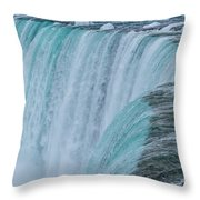 Crest Of Horseshoe Falls In Winter Throw Pillow