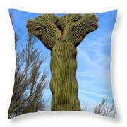 Crested Cactus Throw Pillow