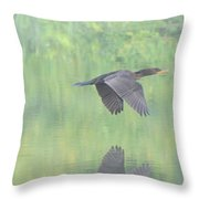 Crested Cormorant Throw Pillow