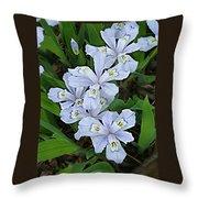 Wild Blue Crested Iris Throw Pillow
