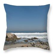 Crestwaves On A California Beach Throw Pillow
