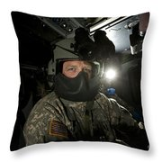 Crew Chief In A Uh-60 Black Hawk Throw Pillow
