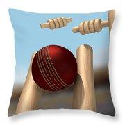 Cricket Ball Hitting Wickets Throw Pillow