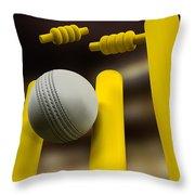 Cricket Ball Hitting Wickets Night Throw Pillow
