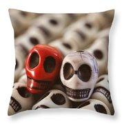 Crimson And Cream Throw Pillow