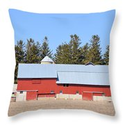 Crimson Barn Throw Pillow