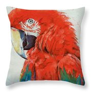 Crimson Macaw Throw Pillow