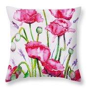 Crimson Poppies Throw Pillow