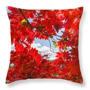 Crimson Red Leaves Background Throw Pillow