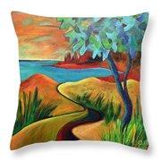 Crimson Shore Throw Pillow