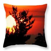 Crimson Sunset Throw Pillow