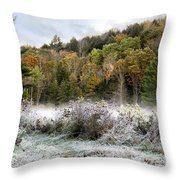 Crisp Morning Frost Hillside Landscape Throw Pillow