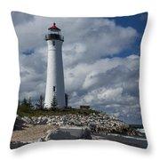 Crisp Point Lighthouse 16 Throw Pillow