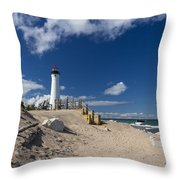 Crisp Point Lighthouse 18 Throw Pillow