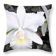 Crisp White Orchids In A Shady Garden Throw Pillow