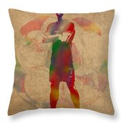 Cristiano Ronaldo Soccer Football Player Portugal Real Madrid Watercolor Painting On Worn Canvas Throw Pillow by Design Turnpike