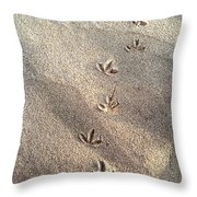 Critter Tracks In The Sand Throw Pillow