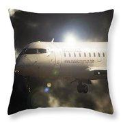 Crj Landing Throw Pillow