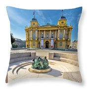 Croatian Nationa Theater In Zagreb Throw Pillow