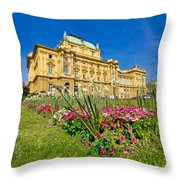 Croatian National Theatre Square In Zagreb Throw Pillow