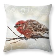 Croching Finch Throw Pillow
