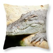 Crocodile Fractal Throw Pillow
