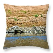 Crocodile In Watering Hole In Kruger National Park-south Africa Throw Pillow