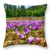 Crocus Flower Valley Throw Pillow