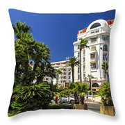 Croisette Promenade In Cannes Throw Pillow by Elena Elisseeva