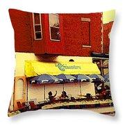 Croissanterie Figaro Parisian Bistro Sidewalk Cafe C Spandau Montreal Premier City Scene Artist Throw Pillow