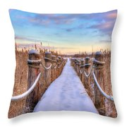 Crooked Lake Boardwalk Throw Pillow by Jenny Ellen Photography