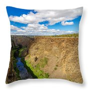 Crooked River Canyon And Bridge Throw Pillow