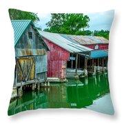 Crooked River Marina Throw Pillow